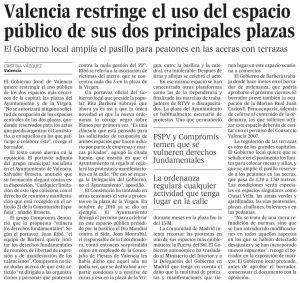 Valencia restringe el uso del espacio público de sus dos principales plazas
