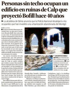 Personas sin techo ocupan un edificio en ruinas de Calp que proyecto Bofill hace 40 años