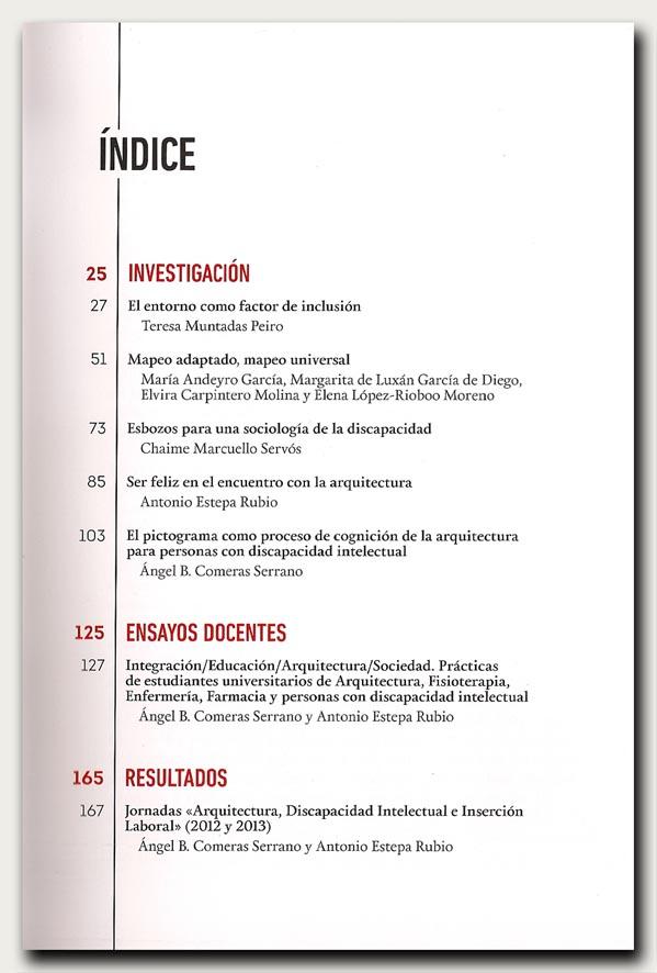 Arquitectura y discapacidad intelectual-índice