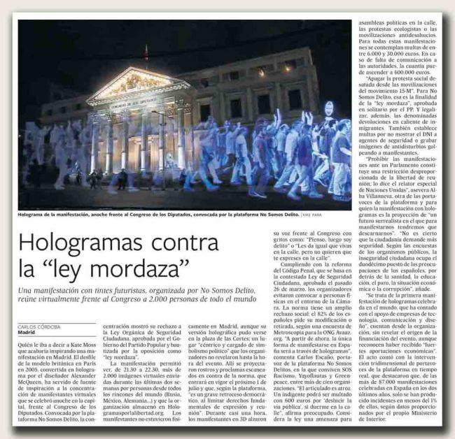 Hologramas contra la 'ley mordaza' copia
