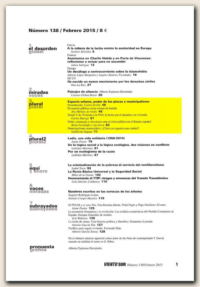 Viento Sur n. 138-índice
