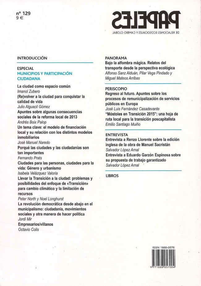 Papeles n.129-índice