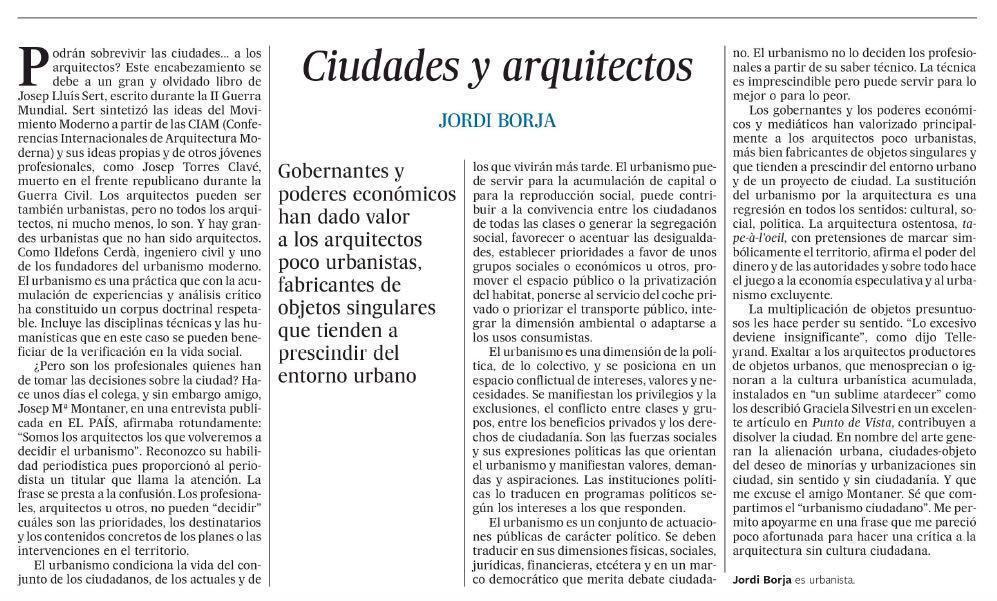 Ciudades y arquitectos
