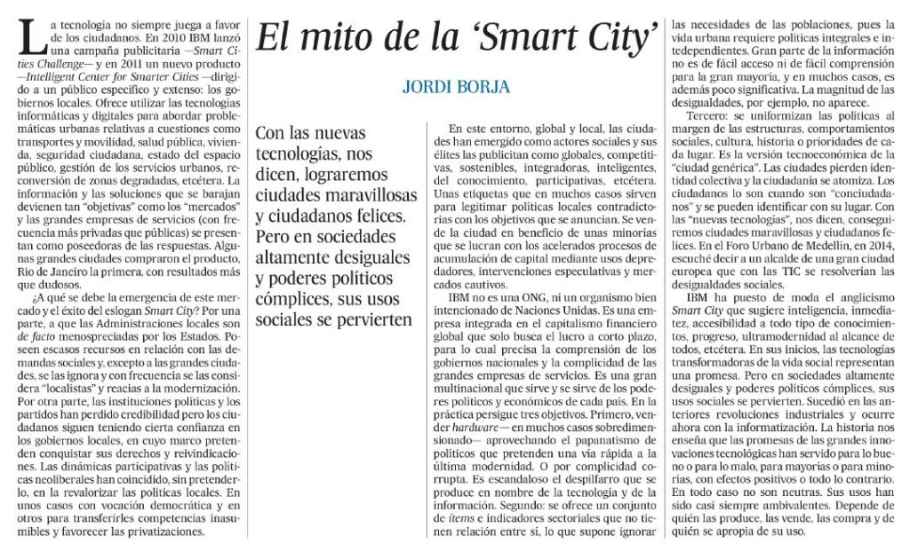 El mito de la 'Smart City'