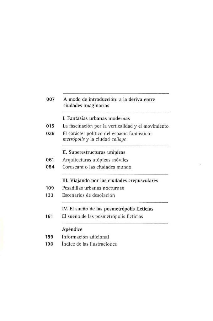 Metrópolis visionarias-índice