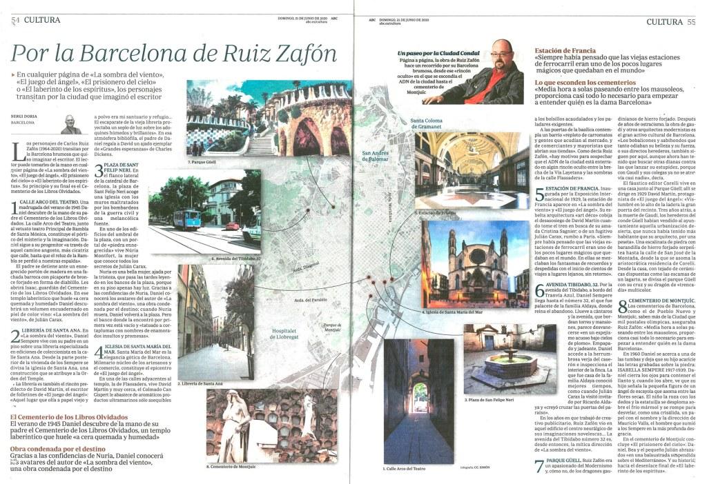 Mapa de localizaciones de libros de Carlos Ruiz Zafón en la ciudad de Barcelona